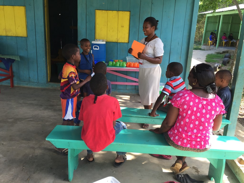 Marcelina confidently teaching a small group on Sunday.
